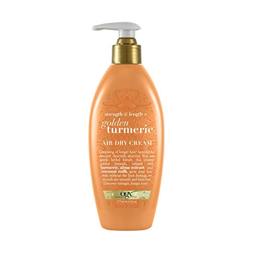 OGX Strength & Length + Golden Turmeric Anti-Frizz Air Dry Hair Cream with Coconut Milk to Nourish Hair, Leave-In Moisturizing Hair Treatment to Smooth Frizzy Hair, 6 oz