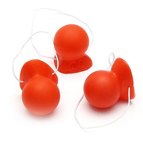 3Pcs Red Honking Squeaking Clown Nose Rubber Clown Nose with Elastic for Adults Halloween Cosplay Christmas Costume Party Accessories