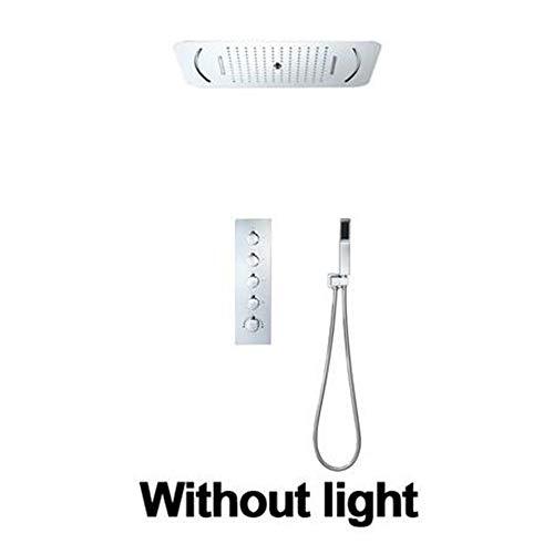 MEILINYU LED Duschkopf Regen Duschsystem Set Thermostatventil Badezimmer-Hahn mit verdecktem Mixer Embedded Decke Duschpaneel,Without Light