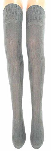 Damen Overknee Strümpfe lang Angora, Größe:35/38, Farben alle:grau