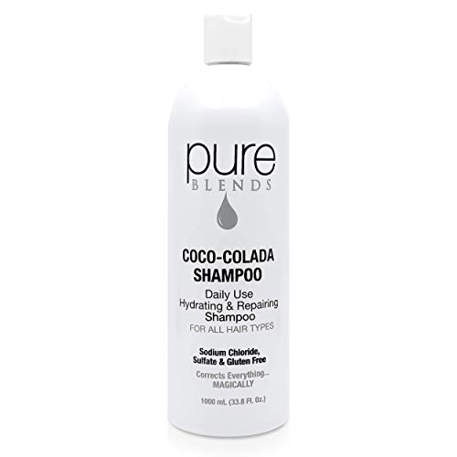 Pure Blends Coco-Colada Shampoo - Daily Haircare Hydrating Shampoo Infused with Keratin & Collagen to Repair Dry & Damaged Hair - Sulfate, Sodium Chloride, Paraben & Gluten-Free - 33.8 Oz