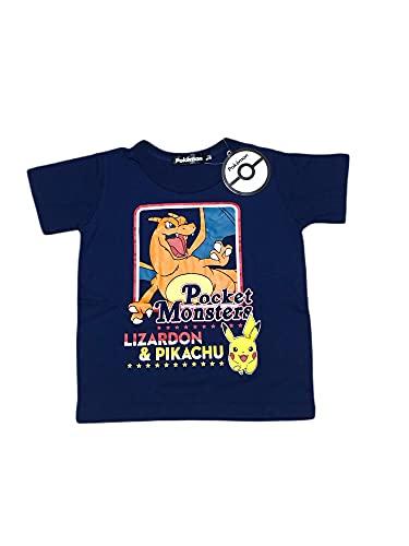 ポケモン Tシャツ リザードン ピカチュウ 半袖 Tシャツ 男の子 子供 キッズ グッズ ティーシャツ ネイビー (110cm 120cm 130cm) (120)