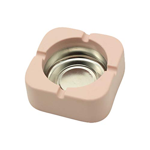 IKAAR Cenicero cuadrado para cigarrillos, para interiores, exteriores, oficina, mesa, pub, jardín, color rosa
