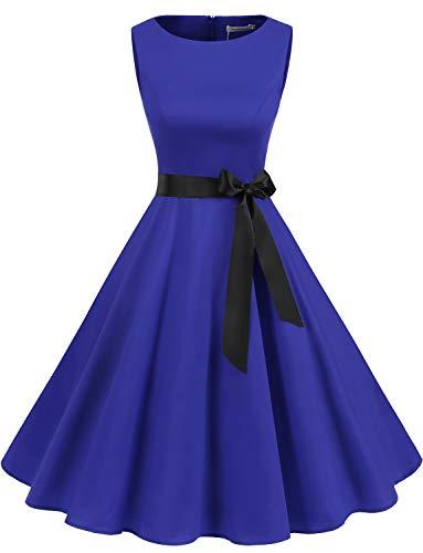 Gardenwed Annata 1950 retrò Rockabilly Polka Vestito da Audery Swing Senza Maniche Abito da Cocktail Partito Royal Blue L