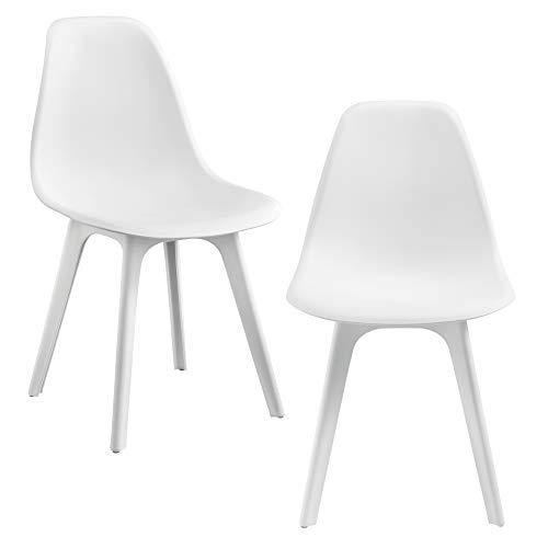 [en.casa] Sedie per Sala da Pranzo Design 83 x 54 x 48 cm Set di 2 Pezzi Plastica Bianco