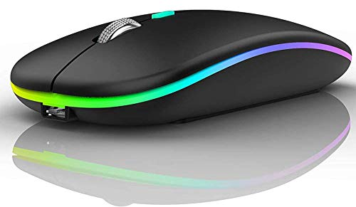 Offbeat ® - DASH 2.4GHz Wireless + Bluetooth 5.1 Mouse, Dual Mode Slim Rechargeable Silent Wireless Mouse, 3 Adjustable DPI, Works on 2 devices at the same time for Windows/Mac/Android/iPad/Smart TV