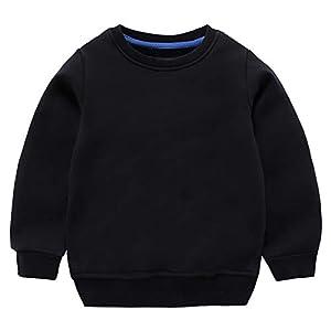 JunNeng ベビー トレーナー 無地 長袖 Tシャツ 子供服 パーカー スウェット 裏毛 体操着 男の子 女の子 シンプル トップス ブラック 90cm