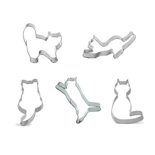 Juego de moldes de aluminio con forma de gato, 5 unidades, para manualidades de azúcar, tartas y pasteles