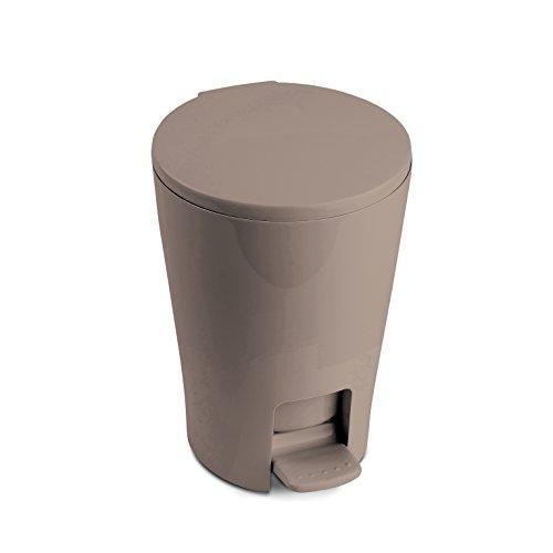 TATAY 4434915 - Diábolo Cubo de baño con apertura a pedal, 5 litros de capacidad, PP, Marrón visón, 19.00x21.00x28.20 cm