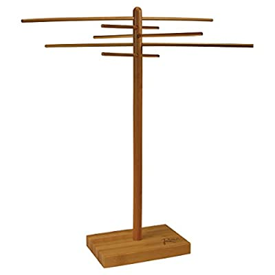 """Weston Bamboo Pasta Drying Rack (53-0201), 10 Drying Arms, 16"""" Tall, 14"""" Wide, Stores Flat"""