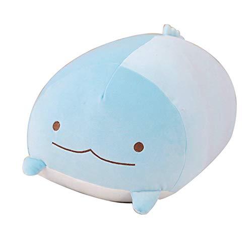 Almohada XYBB 23,6 'Felpa Gato Ballena Mensaje Abrazo Almohada Oso Japón Anime Gato cojín de Cama de Peluche muñeca de Juguete para niños dragón Azul 28cm