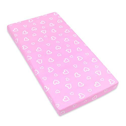 Amilian Spannbettlaken Spannbetttuch für Babybett Kinderbett 60x120 cm, 70x140 cm, 100% Baumwolle, fürs Baby, Baby Bettwäsche Größe: 140x70 cm, Muster: Herzen Rosa