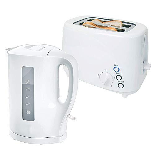 White 1.7 Litre 2200W Fast Boil Cordless Electric Jug Kettle and 850W 2 Slice Toaster Set