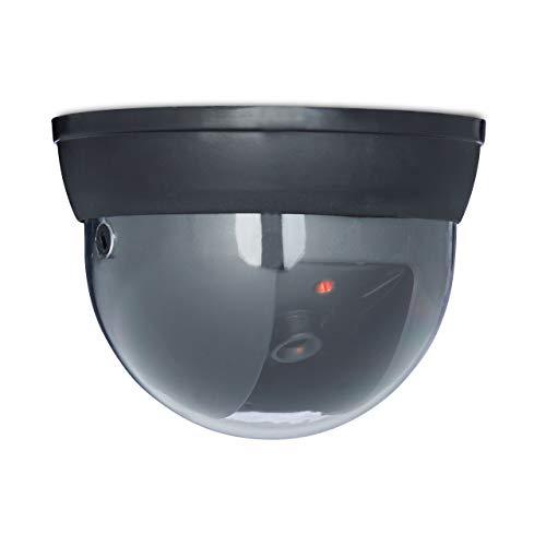 Relaxdays Domo Dummy Camera con luz LED, con parpadeo ajustable, cámara de seguridad, cámara falsa, negro