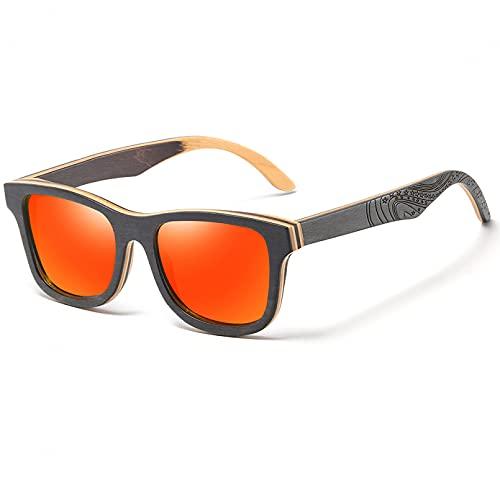 YDDLIE Gafas de sol polarizadas, gafas de sol polarizadas unisex, en capas, para patineta, marco de madera, cuadrado