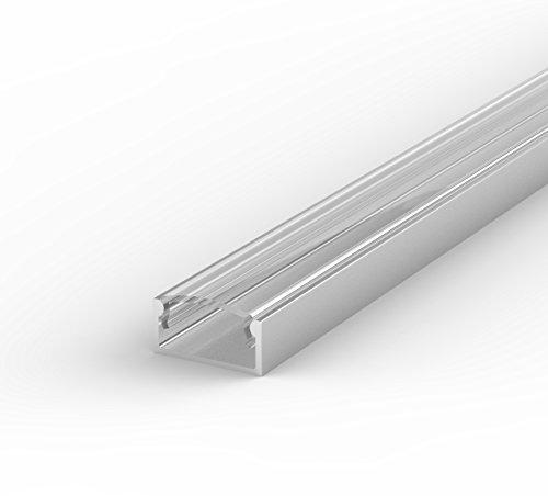 LumenTEC Set: LED Profil, 100cm Profil LED für LED Streifen LT4 + Abdeckung (LT4 Transparent)