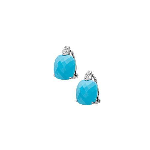 Bernardotto, pendientes de plata 925, de clip con circonitas y piedras de cristal, fabricado en Italia azul turquesa