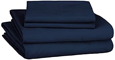 AmazonBasics Soft Microfiber Sheet Set with Elastic Pockets - Queen, Navy