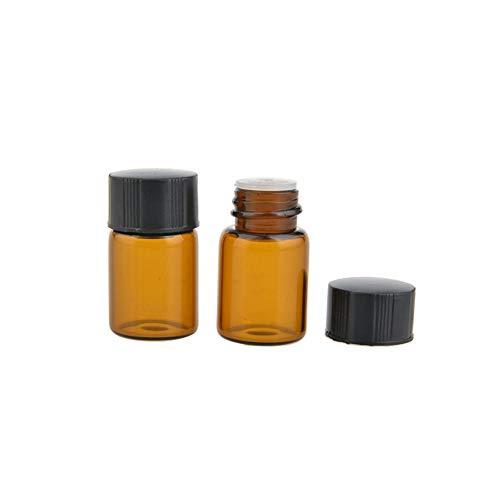 JIHUOO 25 Pcs Ambre Flacons échantillon en Verre Bouteille Huile Essentielle avec Orifice Réducteur 2 ML