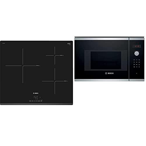 Bosch PUJ631BB2E Placa de Inducción, 3 Zonas, 60cm, Control TouchSelect, Función Sprint, Negro + BEL523MS0 Serie | 4 Microondas integrable