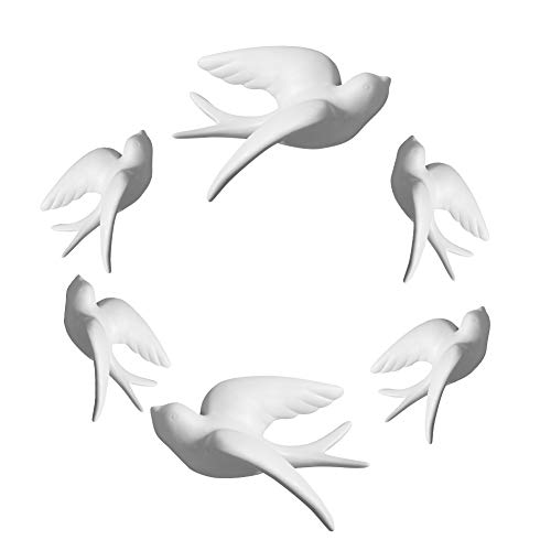 Dorlotou Set of 6 White Ceramic Sparrows Swallows Birds Wall Mounted Decor Hanging for Livingroom Garden Wall Sculptures