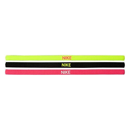 Nike Lot de 3 élastiques pour Cheveux Unisexes Adultes N.JN.04.983.OS, Volt/Noir/Hyper Rose, Taille Standard