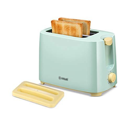 QINGZHUO Tostadora de 2 rebanadas,tostadora de Ranura Extra Ancha,Control de Tostado de 6 Engranajes,Bandeja para Migas extraíble,Verde.