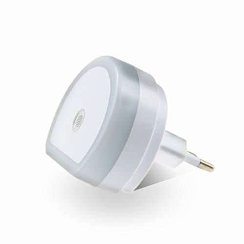 Luz Nocturna Infantil LED, Lámpara Nocturna con Sensor Activo Luz Quitamiedos Infantil con Enchufe Pared, Luz Blanco y Suave, Se fija a cualquier sitio