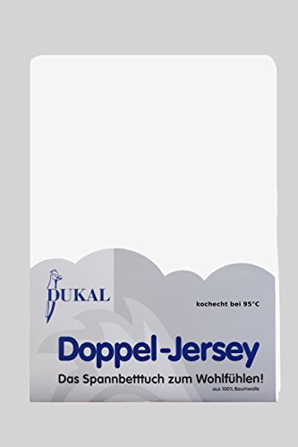 Dukal, Spannbettlaken kochecht für Kinderbetten, 60x120-70x140 cm, aus hochwertigem DOPPEL-Jersey (100% Baumwolle), Weiss