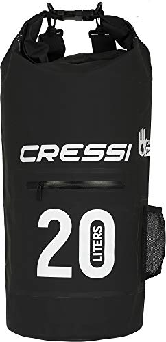 Cressi Dry Bag Mochila Impermeable para Actividades Deportivas, Unisex Adulto, Negro (Black/Zip), 20 L