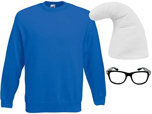 Alsino Zwergverkleidung Blauer Zwerg Outfit Größe M (Kv-150) mit Nerd Schlaubi Brille Schwarz | Zwergenmütze Weiß und Pullover Blau