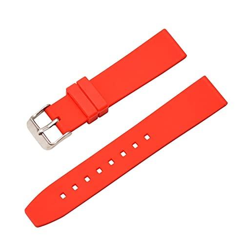 FETTR 16 mm, 18 mm, 20 mm, 22 mm, 24 mm, 26 mm, 28 mm, correa de silicona suave, accesorios de goma impermeable para mujeres y hombres (color: rojo, tamaño: 28 mm)