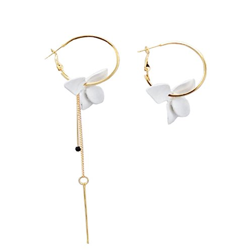Camellia Flower Earrings for Women Minimalist Asymmetrical Circle Leaverback Long Dangle Earrings (white)