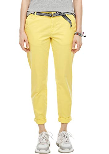 s.Oliver Damen Regular Fit: Chino mit Gürtel light yellow 38.32