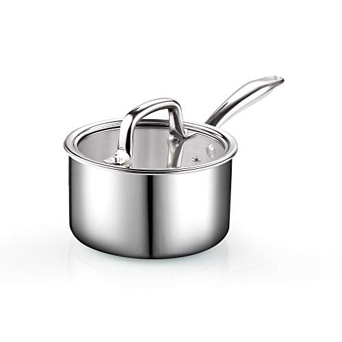 Cook N Home 2679 Tri-Ply Clad Stainless Steel Sauce Pan with Lid, 1.5 Quart, Silver