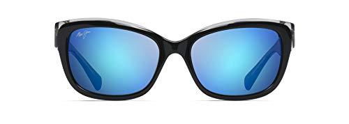 Maui Jim Gafas de sol Mujer PLUMERIA B768-02K   Marco Negro con Crystal y lentes polarizadas MauiBrilliant Blue Hawaii