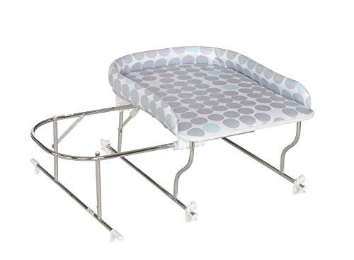 Geuther Combiné de Bain Varix, Table à langer PVC motif: Pois gris/bleu + Support de Baignoire Coulissant