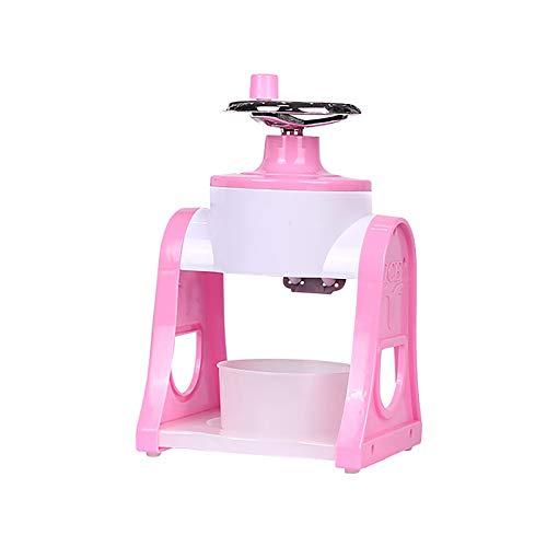 Manual Ice Crushing Machine, Handheld Snow Cone Maker Ice Shaver Kitchen Tool for DIY Ice Cream,Mini Portable Ice Machine (Pink)