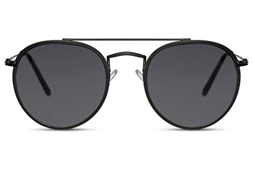 Cheapass Gafas de sol Rojoondas Negras Metálicas Grises Lentes Lisas Puente Doble con protección UV400 Hombres Mujeres