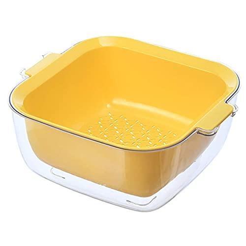WLALLSS Juego de Cuencos colador colador de Cocina 2 en 1 Fregadero de plástico Multifuncional con colador para Canasta de Platos de Verduras Limpieza de Frutas y Bayas