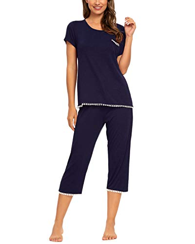 Unifizz Frauen Bequem Pjs Weich Schlafanzug Casual Sleepwear Pyjamas Nighty Wear Spitze Shirts(Size L,Marine)