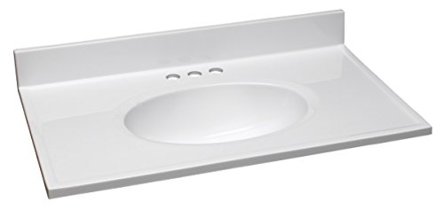 Design House 586198 Cultured Marble 31-Inch Vanity Top with Integrated Oval Bowl, Reinforced Packaging, Solid White/Centerset (Large Bathroom Vanity)