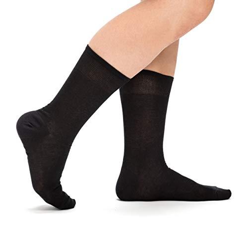 Nuats Calcetines Negros de Hilo de Escocia Hombre. (Pack de 3 pares) Ejecutivos, hasta la pantorrilla, finos, transpirables (42-44)