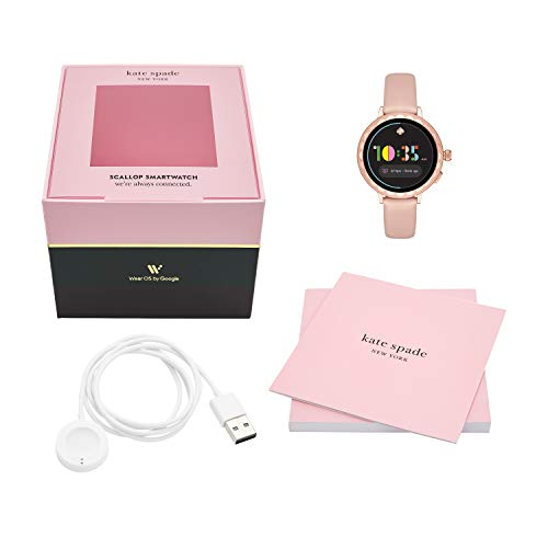kate spade new york Women's Scallop 2 Stainless Steel Touchscreen smartwatch Watch with Leather Strap, Beige, 16 (Model: KST2009)