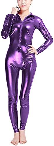NaoSIn-Ni Traje de gato 3D para mujer, delgado, sexy, elástico, traje de anime de metal, traje sintético con disfraz de Halloween, m_púrpura