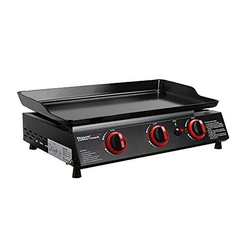 Royal Gourmet PD1303A 3 Burner Portable Griddle 24inch Tabletop Gas Grill Tailgate Camping Picnic, Black