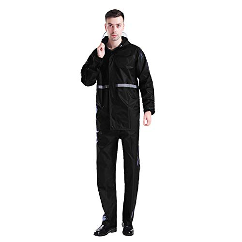 ZXLIFE@@ Waterdichte Jas Broek Suit, Unisex Werkkleding Regenkleding, Motorfiets Regenpak, Draagbare Herbruikbare Regenjas, Regenjas voor Mannen XXXXL Zwart