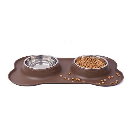 Auzkong Pet Ciotole per Cani Gatti, Ciotola per Cani Gatti in Acciaio Inox con Tappetino Silicone Antiscivolo, 2 x 200ml / ciotola per gatti e cani di piccola taglia da 1 a 7 kg 1 Pz (Marrone)