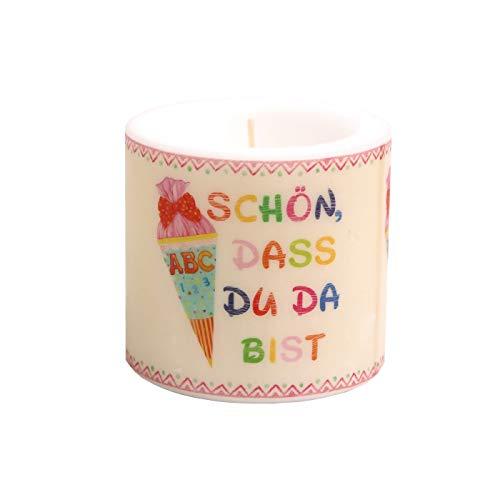 Serviettenshop Kerze rund zum Schulanfang   Einschulung für Mädchen mit Zuckertüte   Schön DASS du da bist   beige rosa   Ø 8cm   Höhe 7,5cm