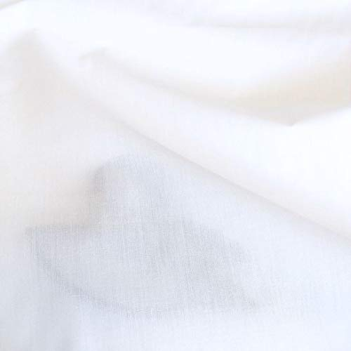 TOLKO Bauwollstoffe weißer Sommer Batist aus 100% Baumwolle | weicher Nesselstoff als Modestoff Kleiderstoff Dekostoff | Meterware zum Nähen/Dekorieren (Weiß 160cm breit)